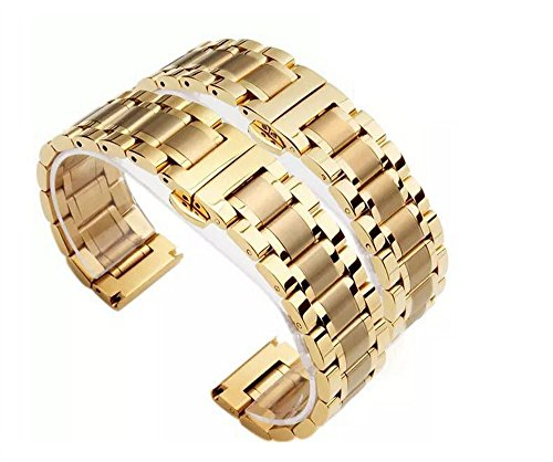 Tone Solid Wrist Two Watch (24mm Gold Brushed&Polished Stainless Steel Solid Link Wrist Watch Band Strap Bracelet Replacement Butterfly Clasp)