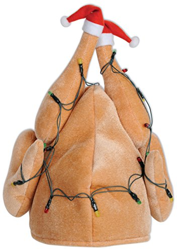 Beistle 1-Pack Plush Light-Up Christmas Turkey Hat (20742) ()