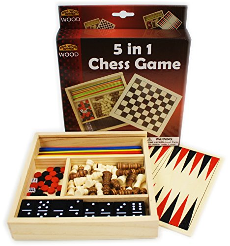 Travel Game Set - Homeware 5-in-1 Wooden Travel Game Set