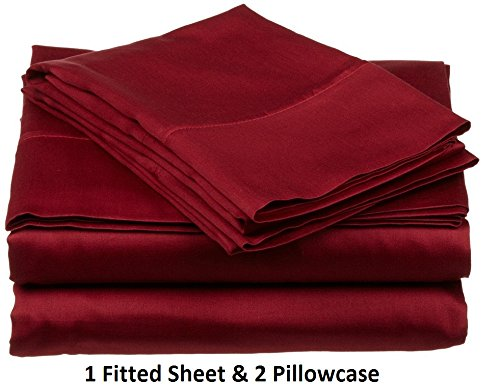 ARlinen 100% Egyptian Cotton 3-Piece (1 Fitted Sheet & 2 Pilllowcase) Only Sateen 600-Thread-Count Queen Size Fit Mattress up to 15 Inch Deep Pocket Premium Quality Solid Burgundy