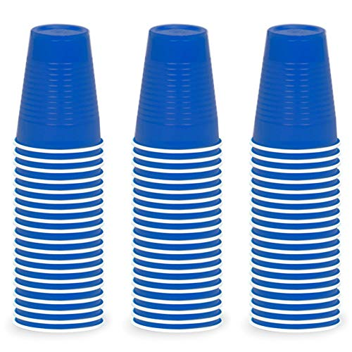 DecorRack 60 Party Cups, 12oz Reusable Disposable Soda Cups for Birthday Party, Bachelorette, Camping, Indoor Outdoor Events, Beverage Drinking Cups, Round -BPA Free- Plastic Cups, Blue (60 Pack)