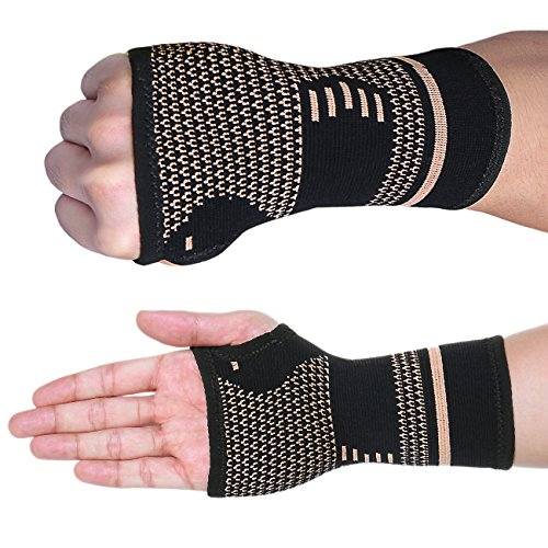 FITTOO (1 Pair) Compression Wrist Support Sleeve Palm Protector Hand Brace for Carpal Tunnel Weight Lifting ()
