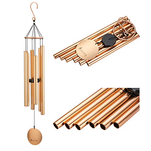 Wind Chimes Outdoor Large Deep Tone, Soothing Melodic Tones with 6 Aluminum Tubes Chime, Amazing Grace Memorial Wind Chimes for Mom, Dad's Gift or Keep for Your Patio, Porch, Yard (42 inches) For Sale