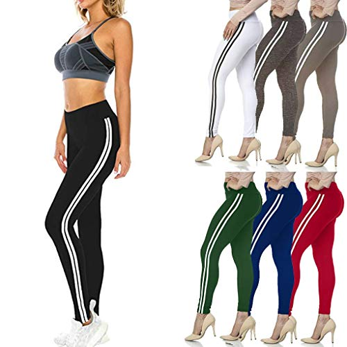 Stripe Gym Sports Pants for Women, High Waist Tummy Control Running Leggings, Butt Lift Athletic Tights for Work-Out Fitness Yoga Dancing