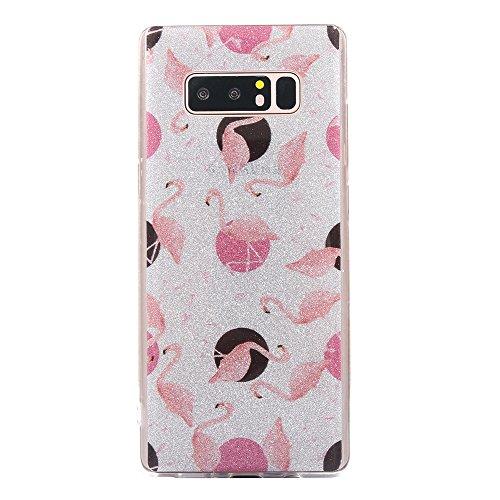 Funda Galaxy Note 8,EUDTH Suave TPU Gel Funda Case Delgado Bling Resplandecer Silicona Fundas Carcasa Espalda para Samsung Galaxy Note 8/SM-950F (6.3 Pulgadas) Diamante Flamencos