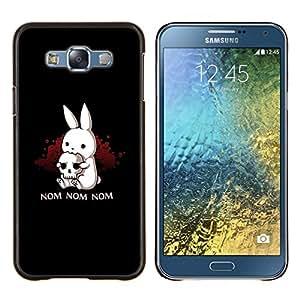 Nom Nom Conejito malvado- Metal de aluminio y de plástico duro Caja del teléfono - Negro - Samsung Galaxy E7 / SM-E700