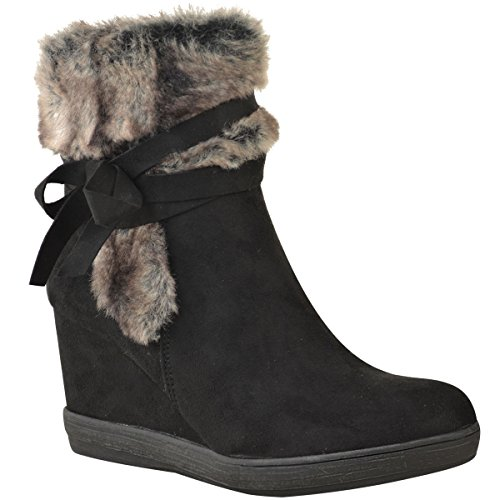 Fur Wedges (Fashion Thirsty Womens Winter Faux Fur Wedge Ankle Boots Inner Lined Shoes Size 9)