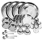 Homebuddy Stainless Steel Dinner Set (Set Of 24)(Glass, Curry Bowl, Desert Bowl, Spoon, Quarter Plate And Full Plate)