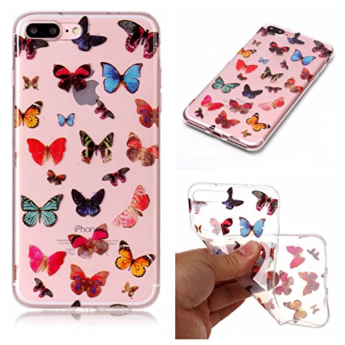Coque Etui iPhone 7 Plus , Leiai Couleur Papillon Silicone Gel Case Avant et Arrière Intégral Full Protection Cover Transparent TPU Housse Anti-rayures pour Apple iPhone 7 Plus