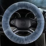 OGLAND Authentic Fuzzy Wool Sheepskin car Steering Wheel Cover for Girls Women and Men,Protector for Universal Steering Wheel 35CM-42CM, Anti-Slip,Comforting and Luxurious, Soft Texture (Blue Grey)
