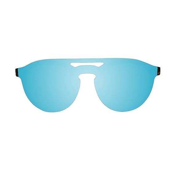 4e20bbd94771d Image Unavailable. Image not available for. Colour: Ocean Unisex San Marino  Flat Lense Demy Sunglasses - Sky Blue/Black
