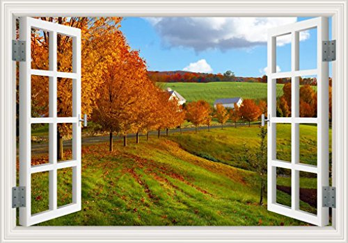 Peel & Stick Wall Murals Art -The Autumn Garden 3D Wall Stickers of Tree for Office Bedroom Creative Window View Removable Wallpaper Decals Home Decor -24x36in from GreatHomeArt