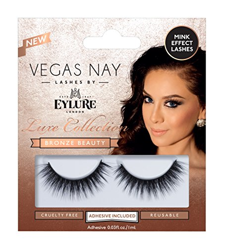 Eylure Vegas Nay Bronze Beauty False Eyelashes, Reusable, Adhesive Included, 1 Pair, Cruelty Free