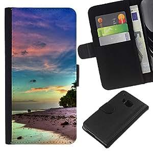 LECELL--Cuero de la tarjeta la carpeta del tirón Smartphone Slots Protección Holder For HTC One M7 -- Hermosa Isla de la serenidad --