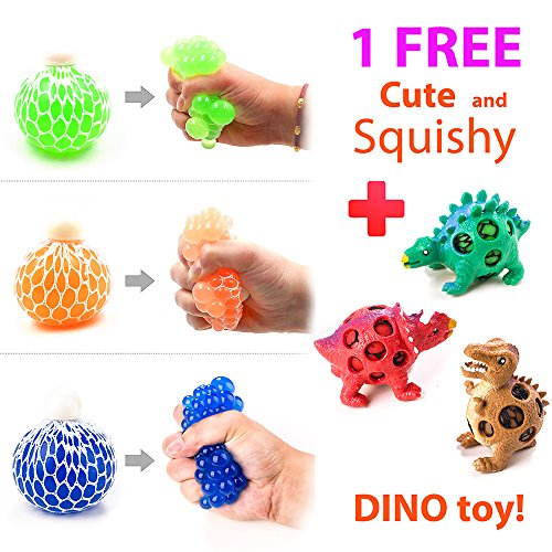New 3 Set Mesh Grape Stress Ball and 1 Random Dinosaur Squeeze Toy for Kids and Adults, Boys and Girls Hand & Wrist Sensory Tool to Vent Mood, Relieve Anxiety and Autism, Fun & Soft Novelty Pressure Ball
