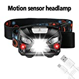 Headlamp, BESWILL USB Rechargeable Motion Sensor Led Headlamp Flashlight 2.7oz 6 Modes Super Bright White Led + Red Light, Outdoor head Torch headlight for Camping Hiking Fishing Dog Walking