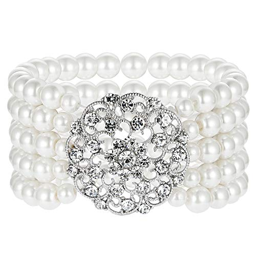 BABEYOND 1920s Flapper Imitation Pearl Bracelet Great Gatsby Elastic Pearl Bracelet Roaring 20s Accessories Jewelry 4 Rows (Style 2-Silver)