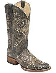 Corral Womens Circle G Crackle Scroll Bone Embroidered Square Toe Western Boot