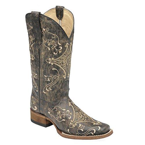 Cerchio G Corral Womens Embroidery Sq Toe Western Boot Nero