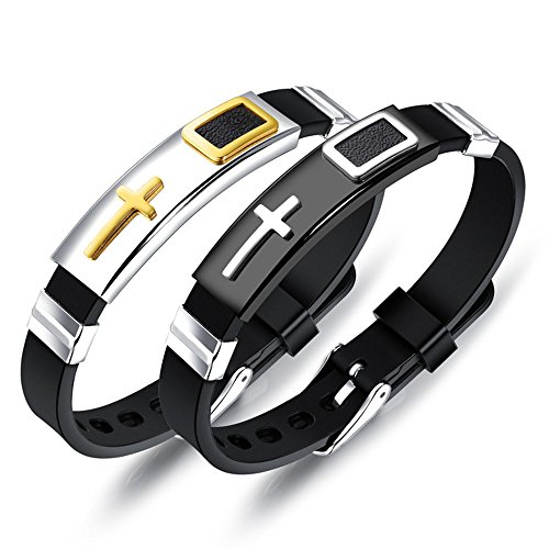 Marwar Charm Bracelet Cross Stainless Steel Jesus Silicone Rubber Men Bracelet Bangle Wristbands (Black) (Gold) (White) (Gold)