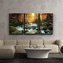 wall26 3 Piece Canvas Print - Contemporary Art, Modern Wall Decor - Golden leaves and forest waterfall serene - Giclee Artwork - Gallery Wrapped Wood Stretcher Bars - Ready to Hang 24 x 36 x3 Panels