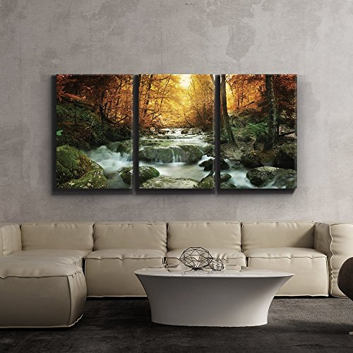 wall26 3 Piece Canvas Print - Contemporary Art, Modern Wall Decor - Golden leaves and forest waterfall serene - Giclee Artwork - Gallery Wrapped Wood Stretcher Bars - Ready to Hang 16 x 24 x3 Panels