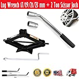 Telescopic Wheel Brace Extendable Lug Wrench 17/19/21/23mm + Scissor Car Jack Lift 2 Ton/4.2-15 inch Capacity Spare Tire Kit Universal Garage Tool Emergency