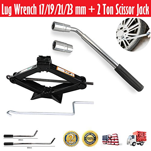 DICN Telescopic Wheel Brace Extendable Lug Wrench 17/19/21/23mm + Scissor Car Jack Lift 2 Ton/4.2-15 inch Capacity Spare Tire Kit Universal Garage Tool Emergency
