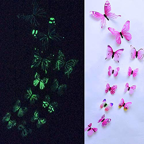 Gotian 3D Luminous Butterfly Design Decal Art Wall Stickers Room Magnetic for Wedding Home Decor Decal Applique Pack of 12 (Pink)