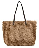 ilishop Women's Classic Straw Summer Beach Sea Shoulder Bag Handbag Tote (Brown)