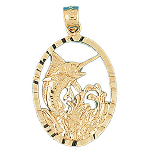 14K Yellow Gold Marlin Pendant Necklace - 34 mm 14k Yellow Gold Marlin