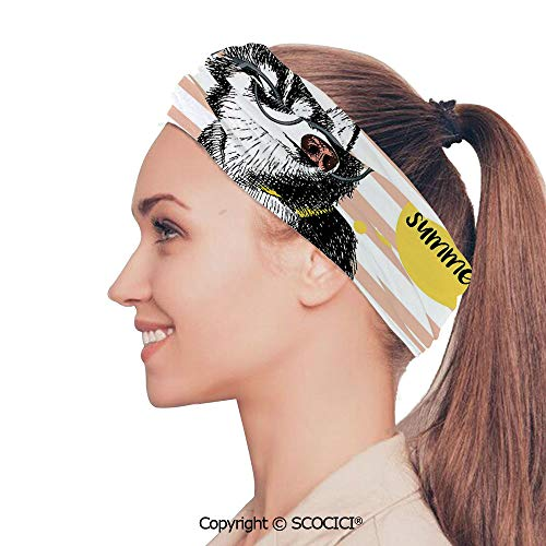 SCOCICI Stretch Soft and Comfortable W9.4xL18.9in Headscarf Headbands Retro Design Cute Hipster Husky with Glasses Saying Hello Sketch Artwork Decorative,Multicolor Perfect for Running, Working Out,