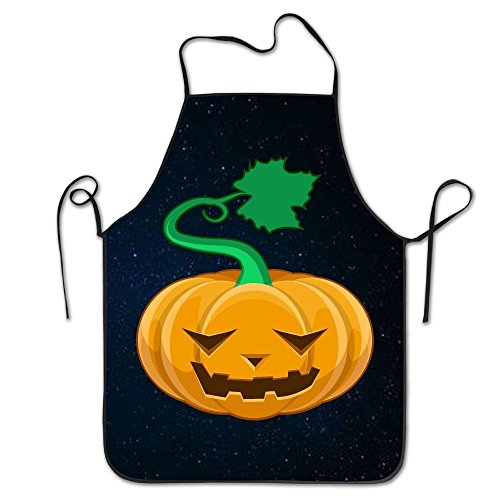 (Halloween Cute Pumpkin Emoji Apron Lock Edge Waterproof Durable String Adjustable Easy Care Cooking Aprons Kitchen Aprons For Women Men Chef)