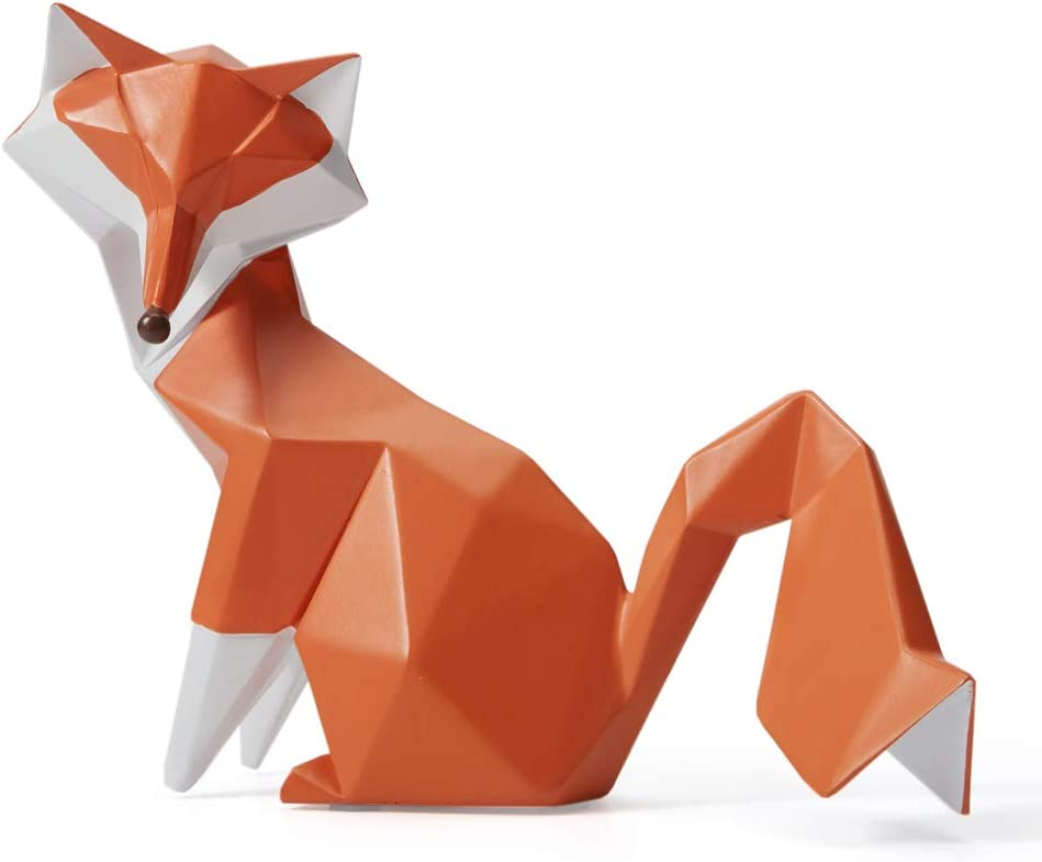 HAUCOZE Sculpture Statue Fox Figurine Geometric Animal Decor for Home Gifts Souvenirs Giftbox Polyresin 20cmL