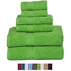 Hydro Basics Fade-Resistant 6-Piece Cotton Towel Set, 100% Cotton Terry Bathroom Set, Soft, Absorbent, Machine Washable, Quick Dry (Lime Green)