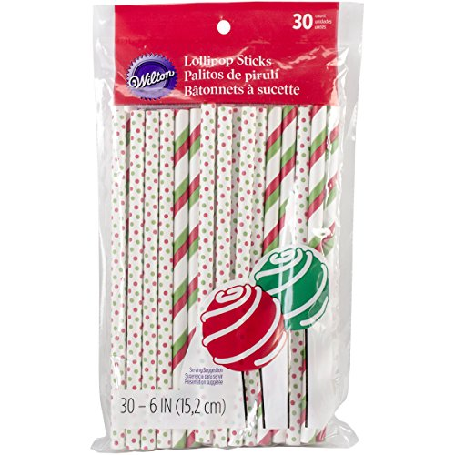 Wilton 1912-6000 Holiday Colored Lollipop Sticks, Red and Green (Brownie Lollipops)