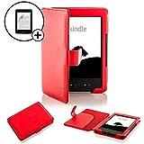 """ForeFront Cases® Funda cubierta de cuero sintético color rojo, Case Para el Nuevo Amazon Kindle 4, pantalla de E Ink de 6"""" (15cm), wifi, color rojo - 5th Generación + PROTECTOR DE PANTALLA"""