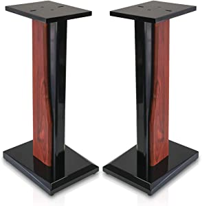 9HORN Pair of 24in Wood Speaker Stands for Home-Theater/HiFi Bookshelf Box and Satellite Speakers i.e. Klipsch, Bose, Polk, JBL, KEF, Sony, Yamaha, Pioneer, Harmon Kardon Universal and Heavy Duty