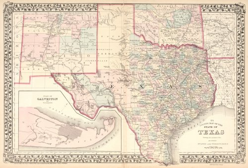 Striking 1876 TEXAS County Map~Forts~Trails~Rails~24
