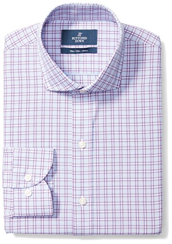 BUTTONED DOWN Men's Slim Fit Cutaway-Collar Pattern Non-Iron Dress Shirt, Purple Plaid, 15