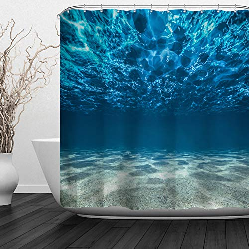 ALFALFA Sea Shower Curtains,Clear Underwater Blue Ocean Waves Hooks Included, Waterproof Fabric Shower Curtains,72
