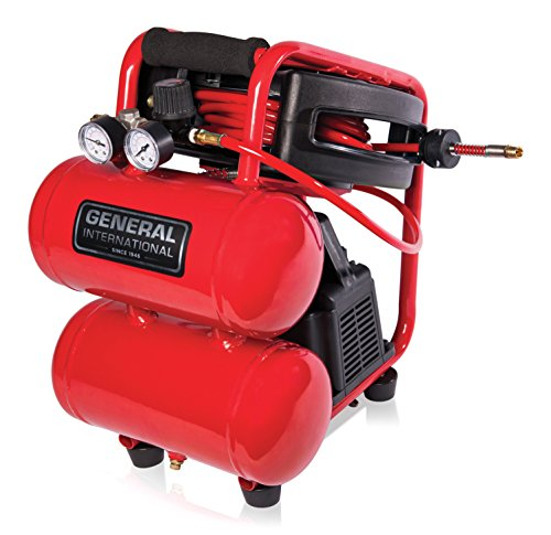 General International AC1212 1/3 HP Portable Electric Twin Stack Air Compressor with 25' Auto Rewind Hose Reel, 2 gallon, Red/Black/Grey (General International)