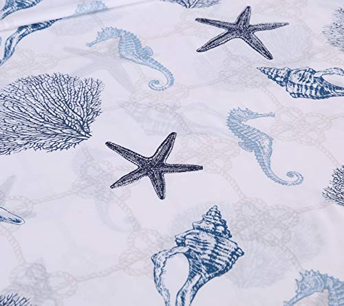"ARTALL Brushed Microfiber Bed Sheet Set 4-Piece 1800 Bedding Seashell Starfish Pattern, Blue, Queen Size - [SUPER SOFT FABRIC]: our sheet set is made with Premium Brushed Microfiber. Fade, wrinkle and shrink resistant. Made of premium microfiber that makes the fabric more durable than cotton. It provides you a unique soft, comfortable, luxurious feel that make you fall asleep fast and sleep better. [MEASUREMENTS]: Queen: Flat sheet 90""x102""; Fitted sheet 60x80+14""; Pillowcases 2x20""x30"" [UNIQUE DESIGN]: ARTALL Printed Sheet Set features attractive gorgeous sea life pattern. The duvet cover with vibrant colors looks elegant and it adds romantic atmosphere to your room. - sheet-sets, bedroom-sheets-comforters, bedroom - 51mw1Z66mTL -"
