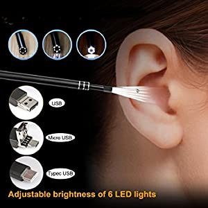 "DBHAWK USB Endoscope,Practical 3in1 USB Earpick Waterprrof I67 Mini Camera Endoscope Ear Cleaning Tool HD Visual Ear Spoon,Best Observation Distance 1.5cm/0.59"",0.3MP"