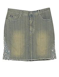 Plus Size Embroidered Short Denim Skirt