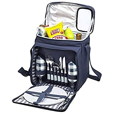 Blue Insulated Picnic Basket - Lunch Tote Cooler Backpack w/ Flatware Two Place Setting