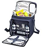 Search : Blue Insulated Picnic Basket - Lunch Tote Cooler Backpack w/ Flatware Two Place Setting