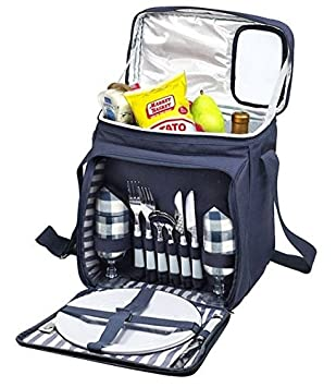 Blue Insulated Picnic Basket – Lunch Tote Cooler Backpack w Flatware Two Place Setting