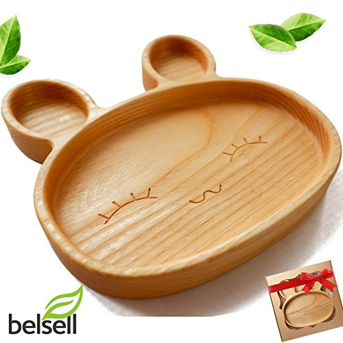 Kids Plates Suction Toddlers Plates for Baby Eco Friendly Ash Tree Wooden Dish...