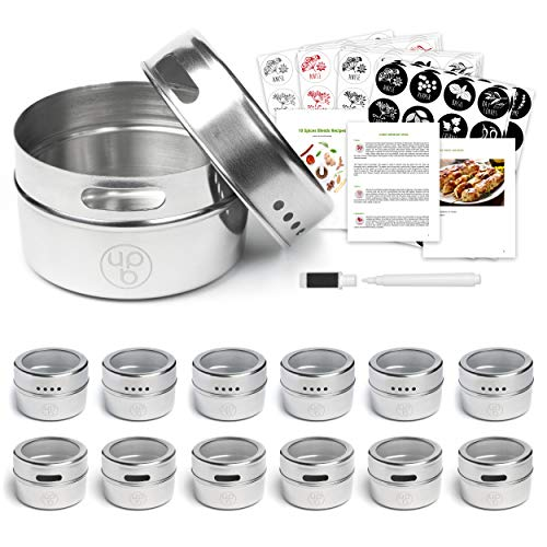 (12 Magnetic Spice Containers & 4 Type Of Spice Labels & Ebook by Uplifebrothers - For Fridge, Grill & More - Stainless Steel Round Jars for Condiments and Craft Stuff. Clear Lid, Sift and Pour. )